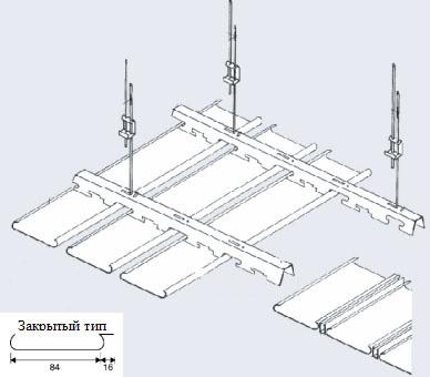Допускается выполнять крепление...  Схема сборки реечного подвесного потолка.