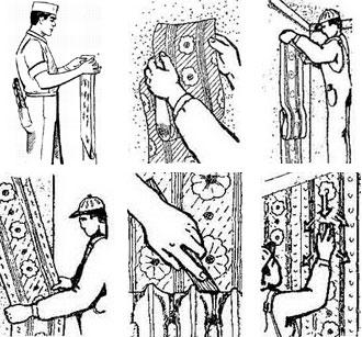 Наклеивание полотнищ на стену