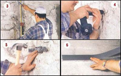 Этапы выравнивания стен гипсокартоном 3-6
